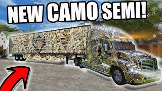 FARMING SIMULATOR 2017 | GOING HUNTING & CAMPING WITH THE NEW CAMO SEMI! MULTIPLAYER!