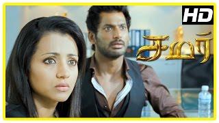 Samar Tamil Movie Scenes | Trisha tries to help Vishal | Vishal feels confused | John Vijay