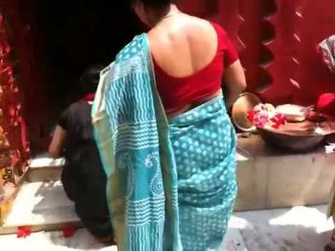 Tamil aunty with blue sarry and red blouse