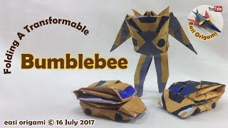 How to make a Papercraft, Origami Transformer Bumblebee (requires 1-5 straight cuts)