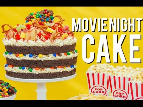 How To Make A MOVIE NIGHT CAKE Root beer chocolate cake vanilla buttercream M&Ms and popcorn