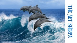How to paint with Acrylic on Canvas dolphins dancing in a wave