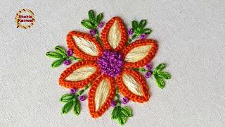unique flower stitch | satin stitch hand embroidery