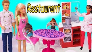 Restaurant Disaster ! Barbie Works For Chef + LOL Surprise Baby Doll - Toy Video