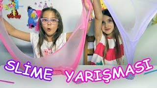 En Güzel Slime Yarışması (Saçlarımıza bulaşmaması için çok uğraştık ama) - Eğlenceli Çocuk Videosu