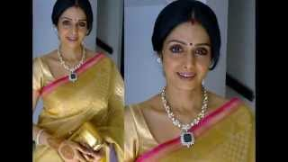 Actress Sridevi in dazzling designer sarees