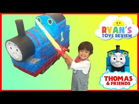 GIANT THOMAS AND FRIENDS Pinatas Surprise Toys Challenge Toy Trains Kids Video Ryan ToysReview