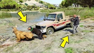 تتوقع نقدر نصيد بالكلب حيوانات ارنب وغيره !!! شوف الي صار قراند GTA 5