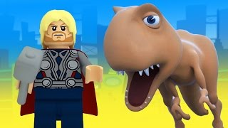 THOR vs DINOSAUR SUPERHERO LEGO MOVIE SPIDER MAN ELSA