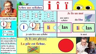 Apprentissage de la lecture Maternelle CP en Français : Alphabet # I, i, î, ï (3)