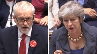 'If the prime minister can't lead she should leave,' says Corbyn to May at PMQs