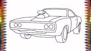 How to draw a car Dodge Charger 1970 step by step for beginners
