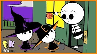 """Emma & Kate Trick or Treating """"Which Witch Got Halloween Candy"""" - EK Doodles Cute Animation"""