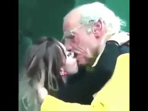 Grandpa kissing hot girl