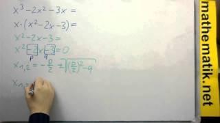 Linearfaktorenzerlegung durch Ausklammern: f(x)=x³-2x²-3x