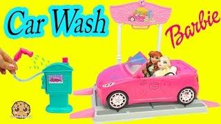 Disney Queen Elsa & Princess Anna Go to Barbie Malibu Car Wash - Water Play Toy Video Cookieswirlc