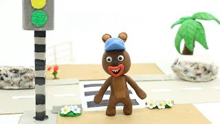 Baby Bear Learning Trafic Safety Tips and Signs Play Doh Stop Motion Video Kids Cartoon Movie