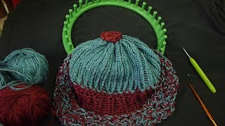 طاقية بناتية لكافة القياسات بالنول بغرزة السنبلة المضاعفة البارزة loom hat knitting
