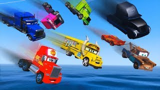 Cars Party Trucks Mack Gale Beaufort Miss Fritter Truck Jerry - McQueen and Friends Video for Kids