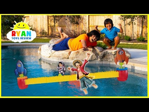 Ryan s Rocket Race Game with Loser favorite toy into swimming pool