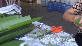 making flower decoration from Banana leaves
