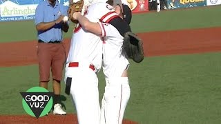 Baseball player reunites with boy who saved his life
