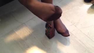 footjob in brown stockings