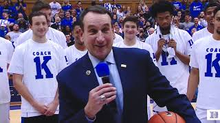 Post-Game Ceremony: Coach K's 1000th Win at Duke (11/11/17)