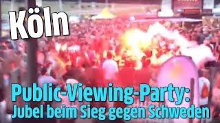 Public-Viewing-Party in Köln: Jubel beim Sieg gegen Schweden