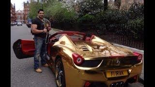سيارة فيراري مطلية بالذهب لبطل العالم العراقي رياض العزاوي للكيك بوكسينج