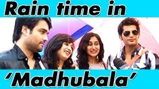 RK aka Vivian Dsena & Karanvir Bohra enjoying the rain with their wives on the sets of Madhubala