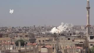 قوات النظام تستمر بقصفها الجوي والصاروخي على حي طريق السد ومخيم درعا 11_6_2017