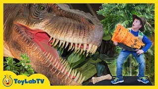 Giant T-Rex Life Size Dinosaur Chases Park Rangers with Nerf Toys at Jurassic Dinosaurs Event