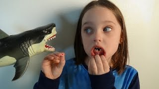 """Shark Attacks Annabelle Knocks Her Tooth Out """"Toy Freaks Tooth Fairy Sharks"""""""