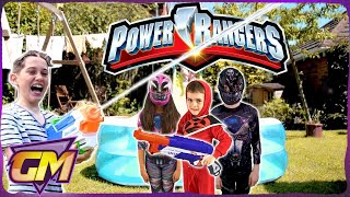 POWER RANGERS WATER FIGHT - Kids Fun with Nerf Super Soakers