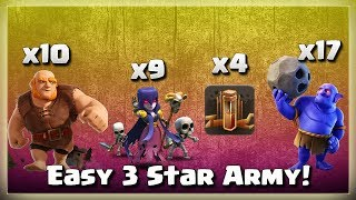 TH11 EASY 3 Star ARMY! = 4 EQ+10 Giant+9 Witch+17 Bowler | TH11 War Strategy #254 | COC 2018 |