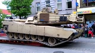 Loading M1A2 (Abrams) Main Battle Tank on Platform in Šiauliai City Centre