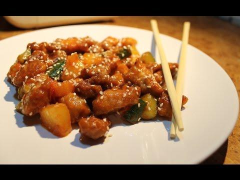 Мясо в сладком соусе с ананасами по-китайски с фото