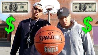 CRAZY BASKETBALL TRICK SHOTS CHALLENGE!! *LOSER PAYS $100*