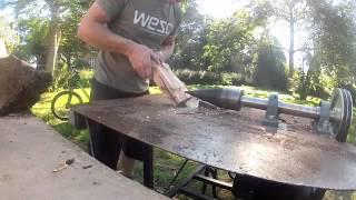 Home made electric screw log splitter