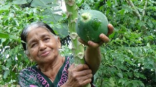 Village Foods ❤ Cooking Tempered Papaya Curry in my Village by my Mom