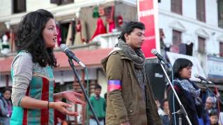 Yukta Bajracharya, Ujjwala Maharjan and Rochak Dahal performing