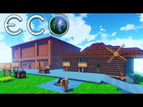 Eco - Huge Tutorial Town w/ Motor Vehicles, Advanced Skills! - Let's Play Eco Gameplay Highlights