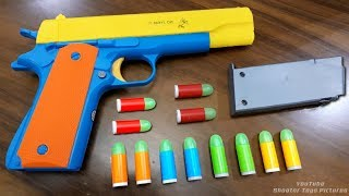 Realistic Toy Gun Size 1:1 Scale .45 ACP COLT - Smith Wesson Model Toy - Rubber Bullet Toy Pistol
