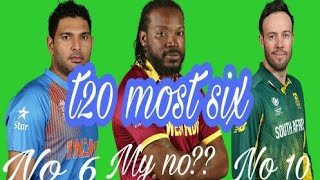 Top 10 most six in t20 career