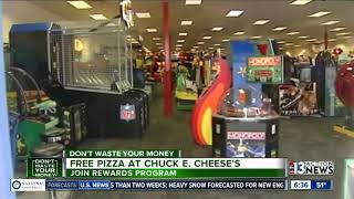 Chuck E. Cheese's offering free pizza