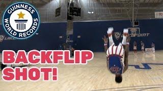 Harlem Globetrotters: Farthest back somersault basketball shot - Guinness World Records Day 2018