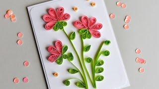 How to Make - Greeting Card Quilling Flowers - Step by Step | Kartka Okolicznościowa