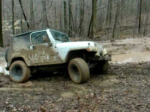5 Points benefit ride Wallace WV Jeep going slippy slidey back in trouble.