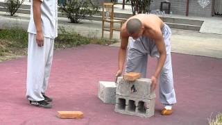 Shaolin Kungfu Demonstration Breaking Iron and Bricks